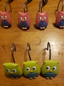 Owl Shower Curtain Hooks  Pink Green Purple Blue Whimsy bathroom unisex