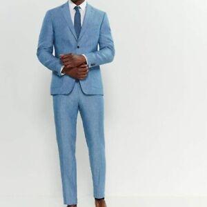 $450 New MICHAEL KORS Blue TWO-PIECE 100% LINEN SUIT 44REG 37W