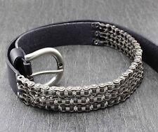 Heavy Motorcycle Chain Genuine Leather Belt For Men Biker Rocker Punk