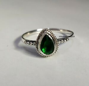Emerald Ring Band Ring 925 Silver Plated Ring Handmade Ring Size 8 mo32