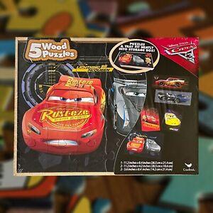 Disney 'PIXAR Cars 3' ~ 5 Wooden Jigsaw Puzzles With Storage Tray ~ NEW