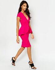 ASOS Deep V Neck Bright Pink Bandage PEPLUM Midi Bodycon Dress UK size 10