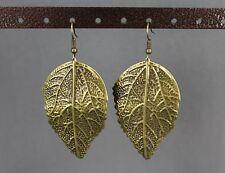 """Textured leaf leaves dangle earrings 2.75"""" long stamped metal"""