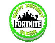 Fortnite logo round edible party cake topper decoration frosting sheet image***