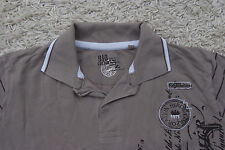 Bio Cotton T-Shirt Herren Größe L - Braun Weiß - Muster - Shirt H96