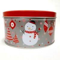 Deluxe Imports Collectible Christmas Tin Red & White Ornaments, Santa, Frosty