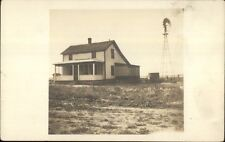 Home & Windmill West Chase 480 Acre Farm Ford Co. Kansas RPPC c1910