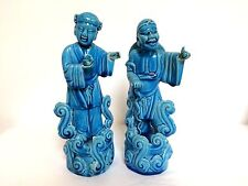 Pair of Vintage Chinese Porcelain Figurine Blue 10""