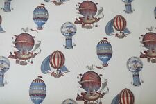 MULBERRY CURTAIN FABRIC DESIGN Flights of Fantasy 3.7 METRE RED/NAVY 100% COTTON
