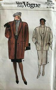 Vintage 80's Jacket Coat Pattern Very Easy Vogue 9086 UNCUT