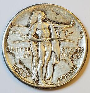 1926 Oregon Trail Commemorative Silver Half Dollar .50c w/ AU Details Cleaned