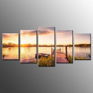 FRAMED 5 Pieces Canvas Prints Wharf Canvas Wall Art Ready to Hang Home Decor