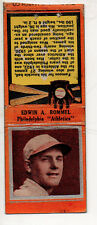 1934 Diamond Baseball Matchcover #155 Edwin Rommel-Philadelphia Athletics-Orange