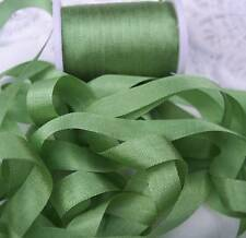"100%SILK EMBROIDERY RIBBON 1/4""[7MM] LT. MOSS 10 YDS"
