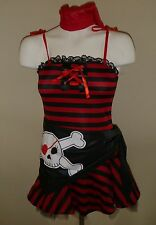 NWT Girls Skull PIRATE CUTIE costume Size 12-14 Dress Up Red tights Buccaneer