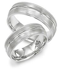 10K WHITE GOLD MENS AND WOMENS WEDDING RINGS SET, MATCHING WEDDING BANDS