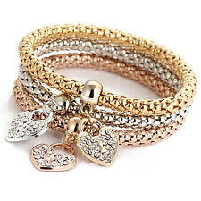Women 3Pcs Gold Silver Rose Gold Bracelets Set Rhinestone Bangle Jewelry BDAU