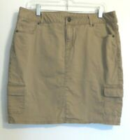 Liz Claiborne Women's sz 14 above knee cotton bld khaki beige tan skirt Pockets