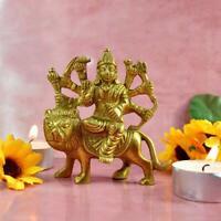 Messing Statue Durga Sherawali Idol Skulptur Indischer Gott Home Office Tempel