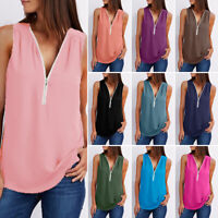Women Summer Vest Loose Sleeveless V-neck Tank Top T-Shirt Casual Solid S-5XL
