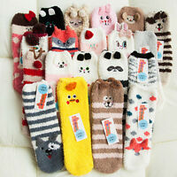 Cute Adult Womens Ladies Fluffy Bed Socks Animal Slipper Winter Warm Xmas Sock