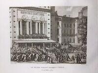 Opéra de Paris en Juillet 1789 Révolution Française Rare Gravure Ancienne