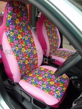 i - TO FIT A TOYOTA PICNIC CAR, S/ COVERS, PRIMROSE COVERS/PINK LEATHER
