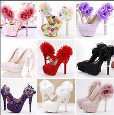 Vogue Womens Flowers Pearls Bridal Shoes Party Stilettos Pumps Wedding 19 Color