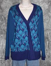 Women's XL 1X 18 Beautiful Blue Silk Blend Cardigan Sweater from Coldwater Creek