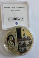 Tiara Papalis Pope Pius VII Gold Plated with Red Garnet Coin