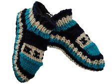 Hand knitted Indoor Bed Slipper Wool Socks Hippie Unisex One Size Blue Warm Cosy