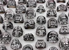 lots mixed 30pcs skull Gothic Bikers sports men's vintage Black Oversize rings
