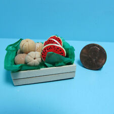 Dollhouse Miniature Wood Crate Filled with Cantaloupe and Watermelon Fruits
