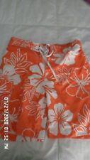 Merona Mens Swim Trunks Sz Med (32-34)  Orange White Floral Below the Knee -EUC!