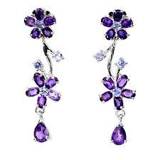 Sterling Silver 925 Genuine Amethyst & Blue Violet Tanzanite Floral Earrings