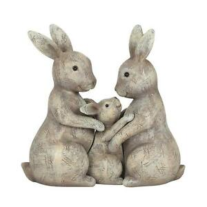 Fluffle Family Bunny Loving Rabbit Parents & Child Home Figurine Ornament Gift