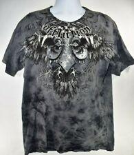 Affliction Mens T Shirt Distressed Gray Black Size 2XL XXL Short Sleeved Studded