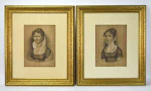 Pair Antique German Charcoal Portraits High Collar High Waisted Empire Dresses