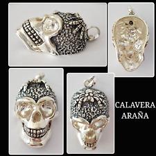 CALAVERA COLGANTE DE PLATA DE LEY 925 ML, CALAVERA OF SILVER PENDANT WITH SPIDER