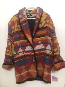 Jofeld Vintage Women's Southwestern Aztec Blanket Jacket Coat Womens Size M
