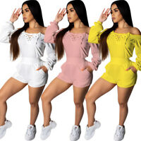 Women Casual Dresses Off Shoulder Jumpsuit Rompers Long Sleeve Clothing Playsuit