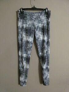 Onzie Women's M/L Black White Geometric Print Leggings High Waist