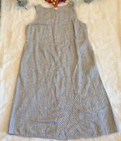 J.Jill Love Linen Wms Sz 2X Black White Sleeveless Dress Long Pockets Linen EUC!