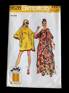 FF Uncut 1970's Simplicity Caftan 2 Lengths One Size Vintage Sewing Pattern 5628