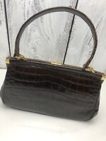 Vtg. 1950s Brown Patent Alligator Hand Bag Purse Made in France for Coblentz