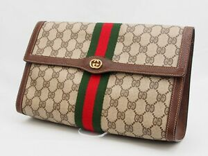 【Rank AB】GUCCI Vintage Pouch Clutch Bag Sherry Line GG Pattern PVC Brown A122