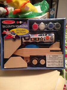 Melissa & Doug Decorate Your Own Wooden Jet Plane Airplane Craft Kit New Sealed