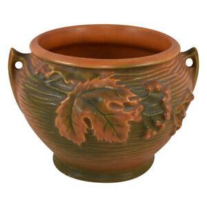 Vintage Roseville Pottery Bushberry Russet Jardiniere Planter 657-4