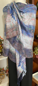 Beautiful Cashmere Luxe Blue Grey Paisley Floral soft Scarf Wrap P7