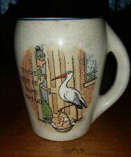 RARE Antique Transferware Mug Tankard Baby Stork pottery humorous MUST SEE!!
